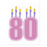 80 velas del cumpleaños (rosa/púrpura) postales