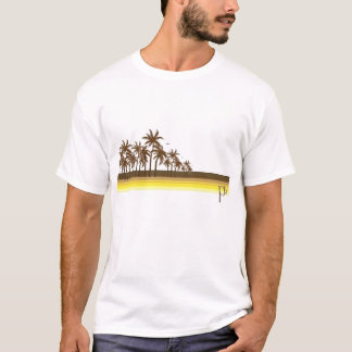 80s retro Brown/palmas de oro Camiseta