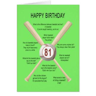 81.os chistes del béisbol del cumpleaños tarjeta de felicitación