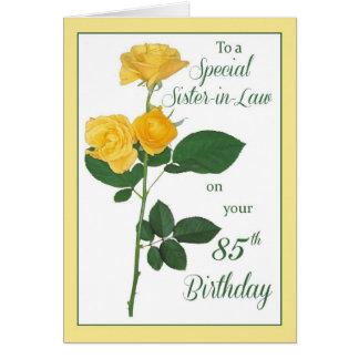 85o Cumpleaños subió, cuñada Tarjeta De Felicitación