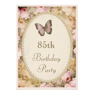 85o Rosas mariposa notas del vintage del cumpleañ Anuncio Personalizado