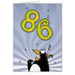 86.o cumpleaños - tarjeta de la sorpresa del pingü