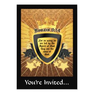 8:14 de los romanos del oro, hijos de dios invitación 12,7 x 17,8 cm