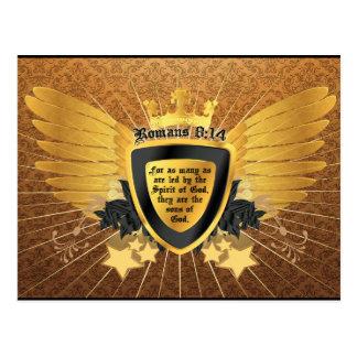 8:14 de los romanos del oro, hijos de dios postal