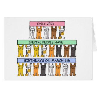 8 de marzo cumpleaños celebrados por los gatos tarjeta de felicitación