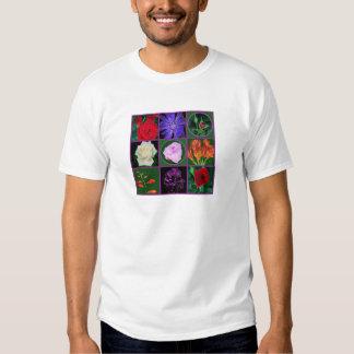 8 gráficos florales de las fotos de la flor en los camisas