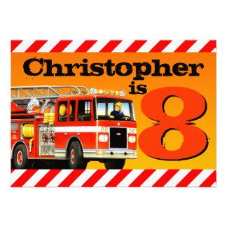 8va fiesta de cumpleaños del coche de bomberos invitación personalizada