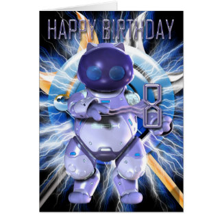 8va tarjeta de cumpleaños feliz, gatito de Robo, g