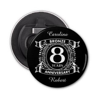 8vo bronce del aniversario de boda abrebotellas redondo