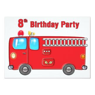 8vo cumpleaños del coche de bomberos fabuloso invitación 12,7 x 17,8 cm