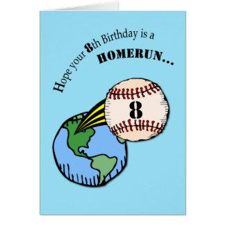 8vo Home run del béisbol del cumpleaños Tarjeta De Felicitación