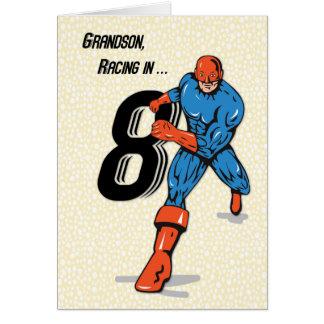 8vo super héroe del cumpleaños del nieto tarjeta de felicitación