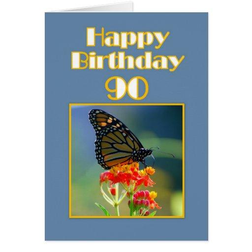 90.a mariposa de monarca feliz del cumpleaños tarjeta