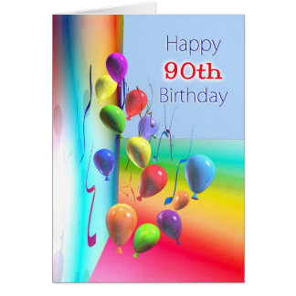 90 a pared feliz del globo del cumpleaños tarjeta