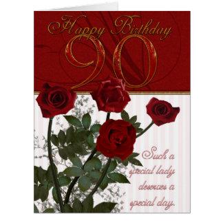 90 a tarjeta de cumpleaños del gigante con los ros