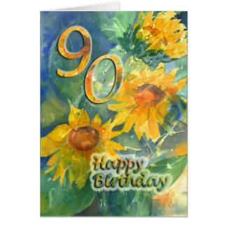 90 a tarjeta de felicitación feliz del cumpleaños