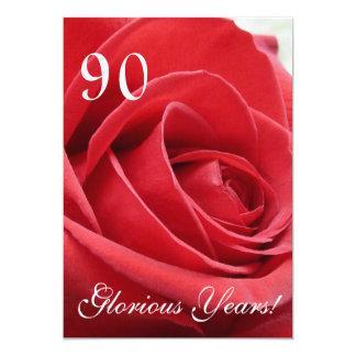 ¡90 años gloriosos! - Celebración del cumpleaños Invitación 12,7 X 17,8 Cm