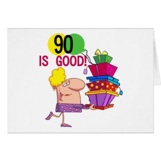 90 es buenos camisetas y regalos del cumpleaños tarjeta de felicitación