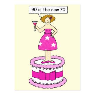 90 es el nuevo humor del cumpleaños de la edad de postal