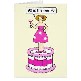 90 es el nuevo humor del cumpleaños de la edad de tarjeta de felicitación