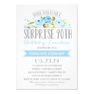 90.o alumerzo del cumpleaños de la sorpresa color invitación 12,7 x 17,8 cm