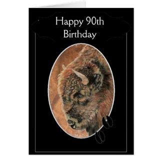 90.o bisonte feliz divertido del cumpleaños, anima felicitación