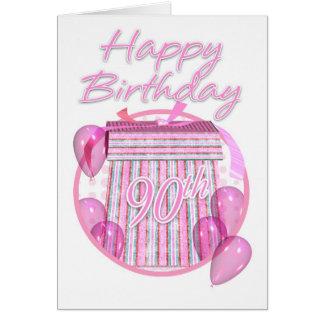 90.o Caja de regalo de cumpleaños - rosa - feliz Tarjeta De Felicitación