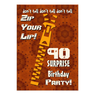 90 o Cremallera del cumpleaños de la sorpresa su o Invitacion Personal