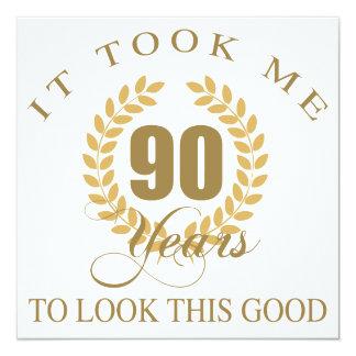 90.o cumpleaños apuesto invitación 13,3 cm x 13,3cm