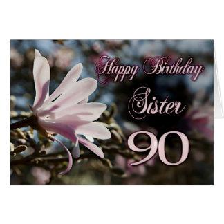 90.o cumpleaños de la hermana con la magnolia tarjetas