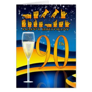 90.o Cumpleaños de la lengua sorda del cumpleaños Tarjeta De Felicitación