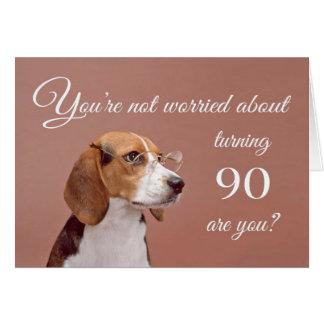 90.o cumpleaños feliz, beagle preocupante felicitaciones