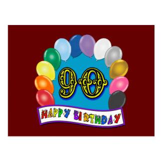 90 o cumpleaños feliz con los globos