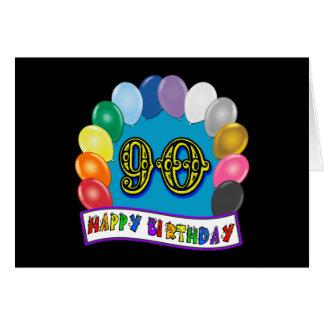 90 o cumpleaños feliz con los globos felicitacion