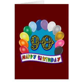 90 o cumpleaños feliz con los globos felicitaciones