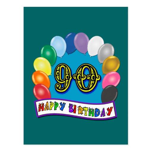 90.o cumpleaños feliz con los globos tarjetas postales