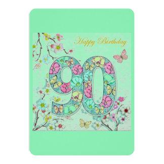90.o cumpleaños feliz invitación 12,7 x 17,8 cm