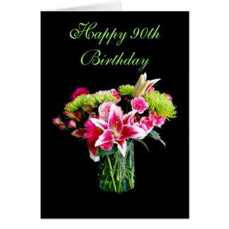 90.o cumpleaños feliz, ramo del lirio del tarjeta de felicitación
