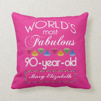 90.o Cumpleaños la mayoría del rosa colorido Cojín Decorativo