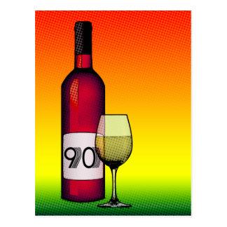 90.o cumpleaños o aniversario: botella y vidrio de postal
