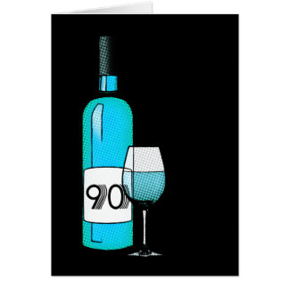 90.o cumpleaños o aniversario: botella y vidrio de tarjeta de felicitación