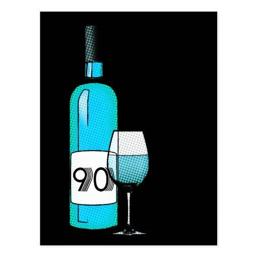 90.o cumpleaños o aniversario: botella y vidrio de tarjetas postales