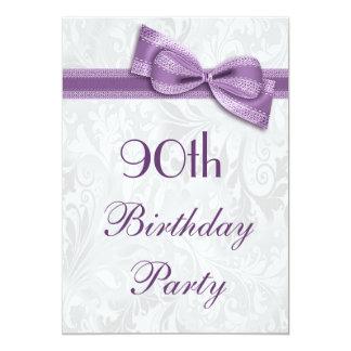 90.o Damasco de la fiesta de cumpleaños y falso Invitación 12,7 X 17,8 Cm