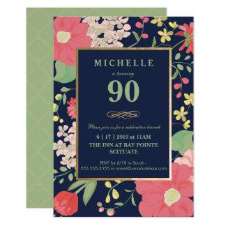 90.o Invitación del cumpleaños - oro, floral