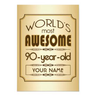 90.o mundo de la celebración del cumpleaños del invitación 12,7 x 17,8 cm