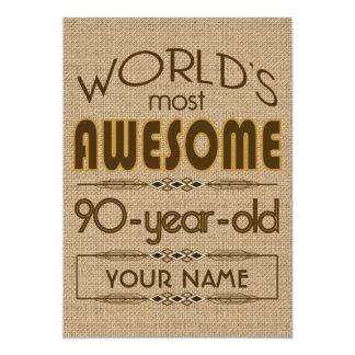 90.o Mundo de la celebración del cumpleaños mejor Invitación 12,7 X 17,8 Cm