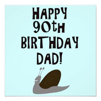 90.o papá y caracol felices del cumpleaños invitación 13,3 cm x 13,3cm