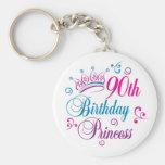 90.o Princesa del cumpleaños Llavero Personalizado