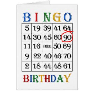 90.o Tarjeta del bingo del cumpleaños
