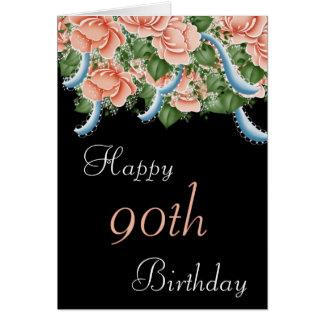 90.o Tarjeta del feliz cumpleaños de los rosas del